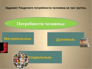 Задание! Разделите потребности человека на три группы. Потребности человека: