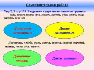 Самостоятельная работа Упр.2, 3 стр.153 Разделите существительные по группам