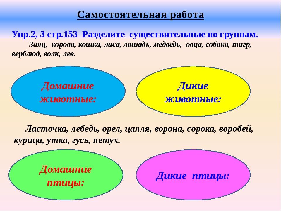 Самостоятельная работа Упр.2, 3 стр.153 Разделите существительные по группам...