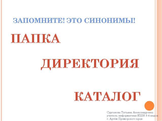 ЗАПОМНИТЕ! ЭТО СИНОНИМЫ! Сурганова Татьяна Александровна учитель информатики...