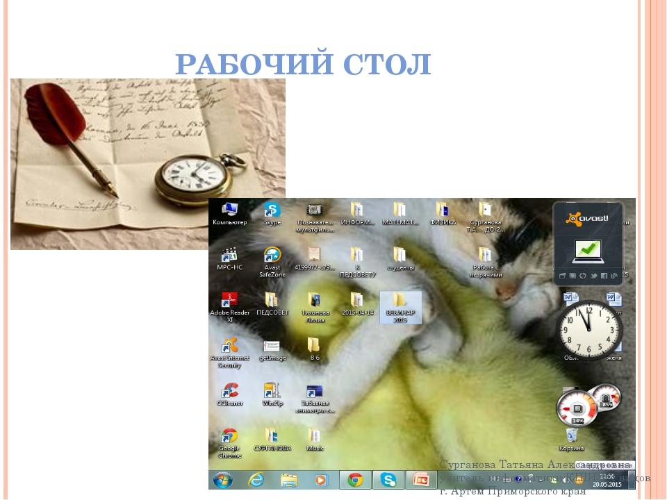 РАБОЧИЙ СТОЛ Сурганова Татьяна Александровна учитель информатики КШИ 3-4 видо...