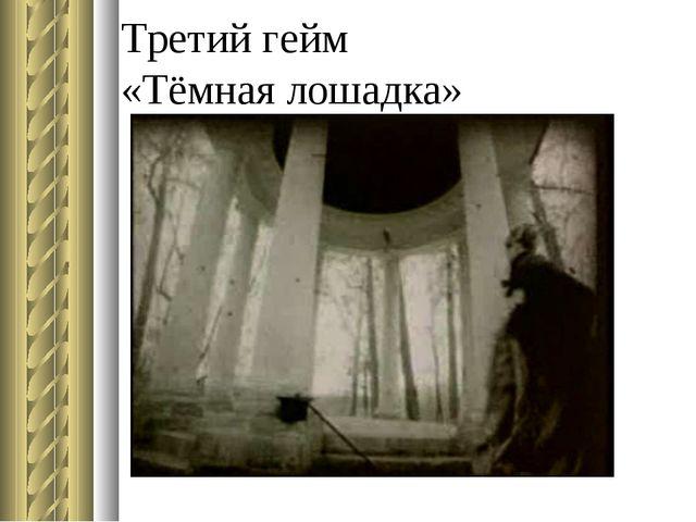 Третий гейм «Тёмная лошадка»