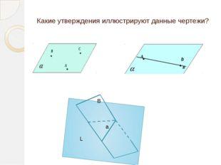Какие утверждения иллюстрируют данные чертежи? L B a