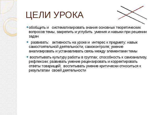 ЦЕЛИ УРОКА обобщить и систематизировать знания основных теоретических вопросо...