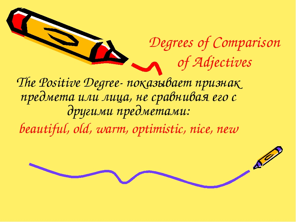 Degrees of Comparison of Adjectives The Positive Degree- показывает признак п...