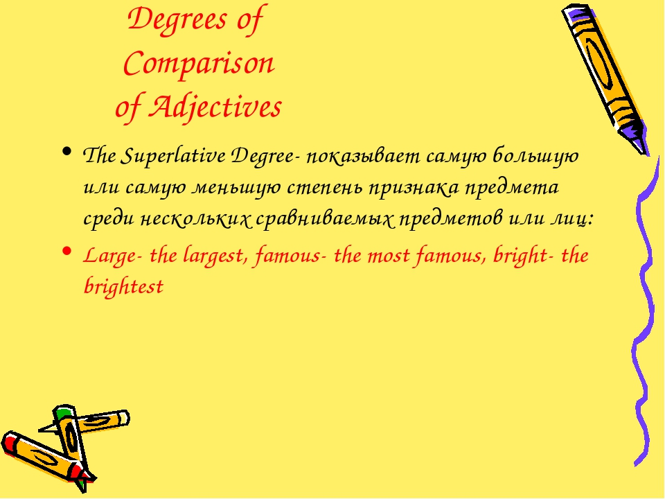Degrees of Comparison of Adjectives The Superlative Degree- показывает самую...