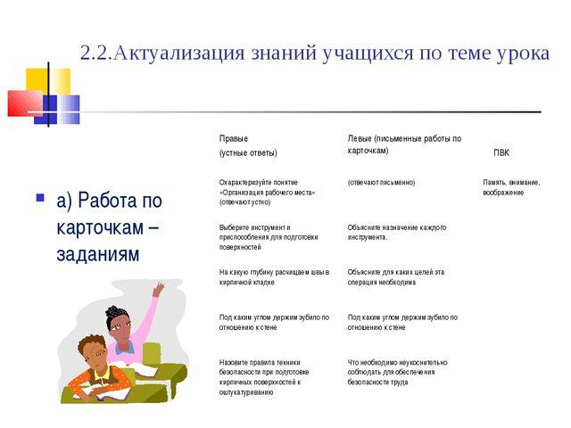 2.2.Актуализация знаний учащихся по теме урока а) Работа по карточкам – задан...
