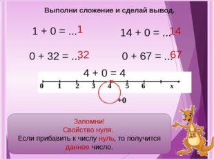1 + 0 = ... 0 + 32 = ... 14 + 0 = ... 0 + 67 = ... 67 14 32 1 Выполни сложени