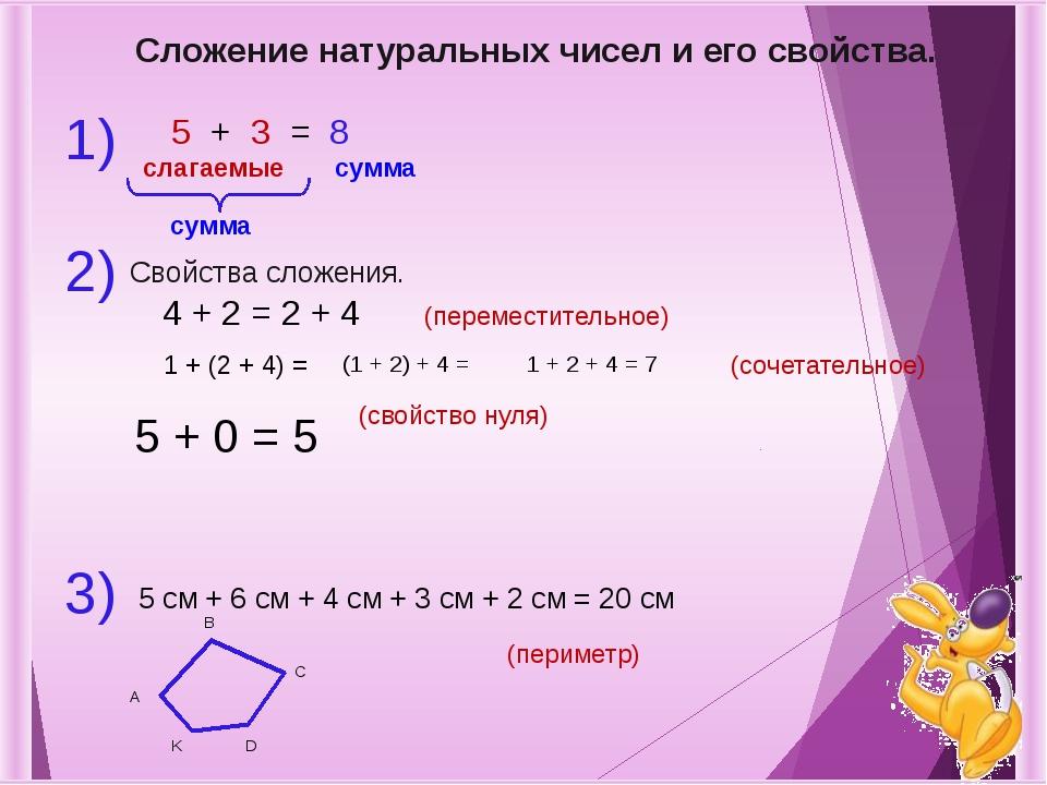 Сложение натуральных чисел и его свойства. 1) 2) 5 + 3 = 8 слагаемые сумма су...