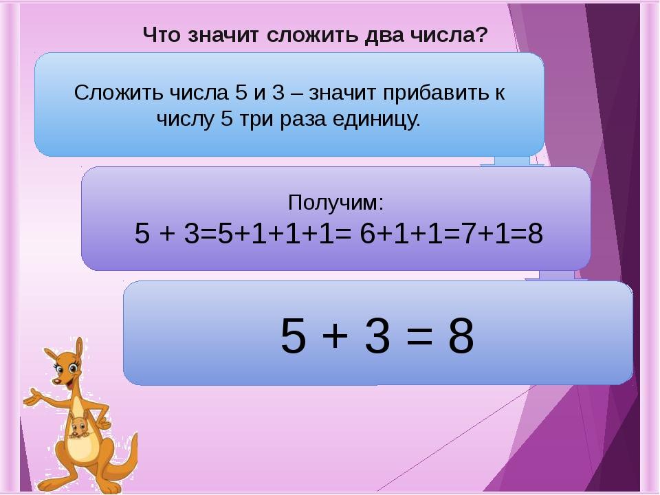 Что значит сложить два числа? Сложить числа 5 и 3 – значит прибавить к числу...
