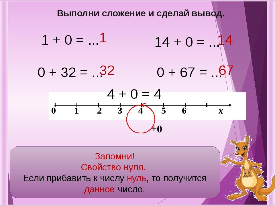 1 + 0 = ... 0 + 32 = ... 14 + 0 = ... 0 + 67 = ... 67 14 32 1 Выполни сложени...