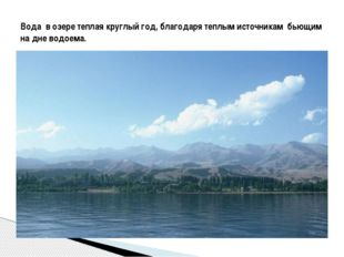 Вода в озере теплая круглый год, благодаря теплым источникам бьющим на дне в