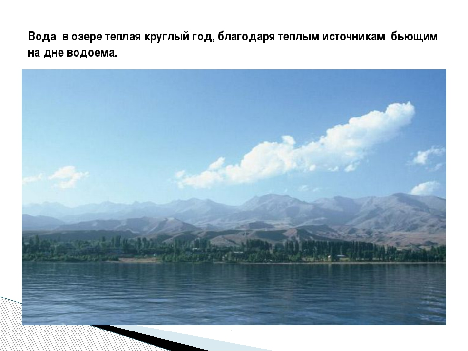 Вода в озере теплая круглый год, благодаря теплым источникам бьющим на дне в...