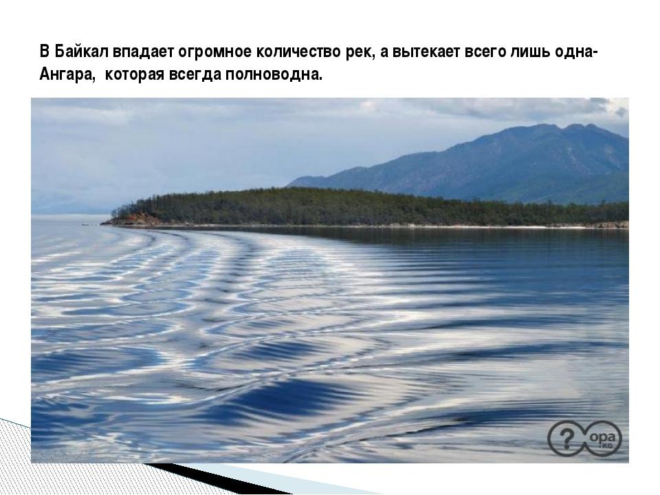 В Байкал впадает огромное количество рек, а вытекает всего лишь одна- Ангара...