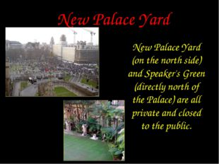 New Palace Yard New Palace Yard (on the north side) and Speaker's Green (dire