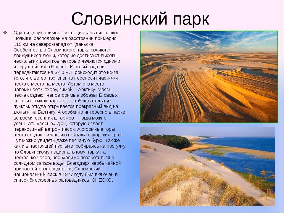 Словинский парк Один из двух приморских национальных парков в Польше, располо...