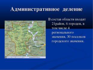 Административное деление В состав области входят 21район, 6 городов, в том чи