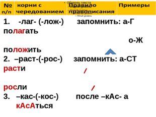 1. -лаг- (-лож-) запомнить: а-Г полагать о-Ж положить 2. –раст-(-рос-) запом