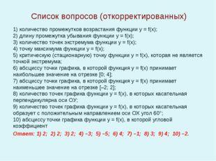 Список вопросов (откорректированных) 1)количество промежутков возрастания фу