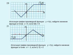 Используя график производной функции у = f(x), найдите значение функции в точ