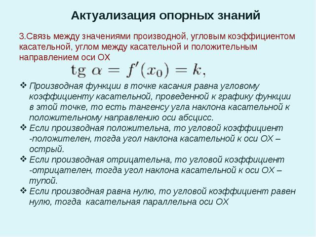Актуализация опорных знаний 3.Связь между значениями производной, угловым коэ...