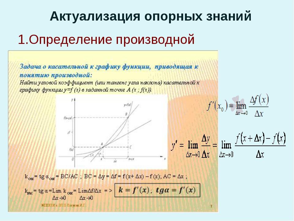 Актуализация опорных знаний прП 1.Определение производной