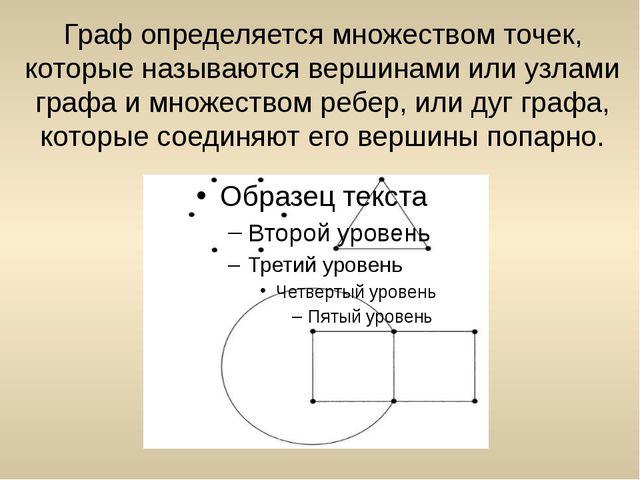 Граф определяется множеством точек, которые называются вершинами или узлами г...