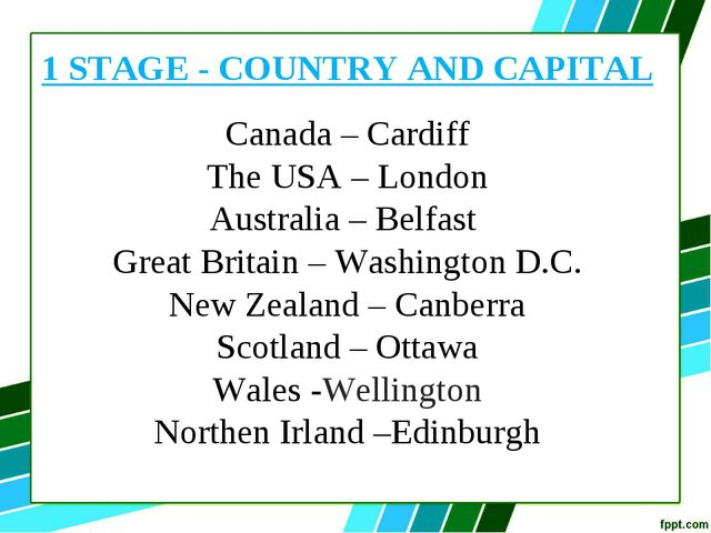 1 STAGE - COUNTRY AND CAPITAL Canada – Cardiff The USA – London Australia – B...