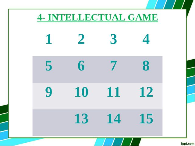 4- INTELLECTUAL GAME 1	2	3	4 5	6	7	8 9	10	11	12 	13	14	15