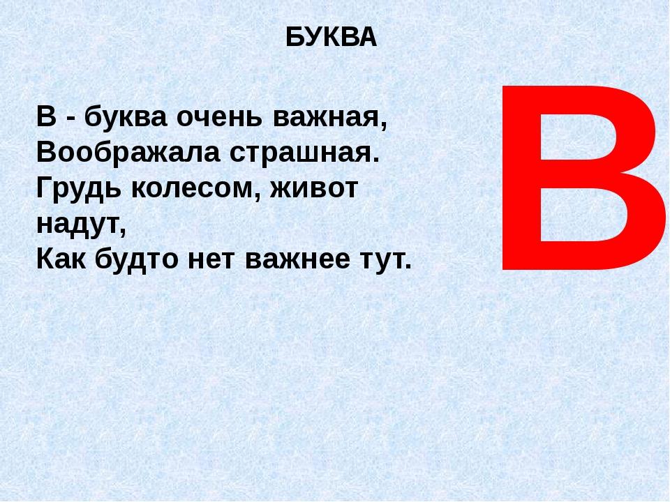 БУКВА В В - буква очень важная, Воображала страшная. Грудь колесом, живот над...