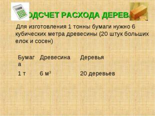 ПОДСЧЕТ РАСХОДА ДЕРЕВА Для изготовления 1 тонны бумаги нужно 6 кубических мет