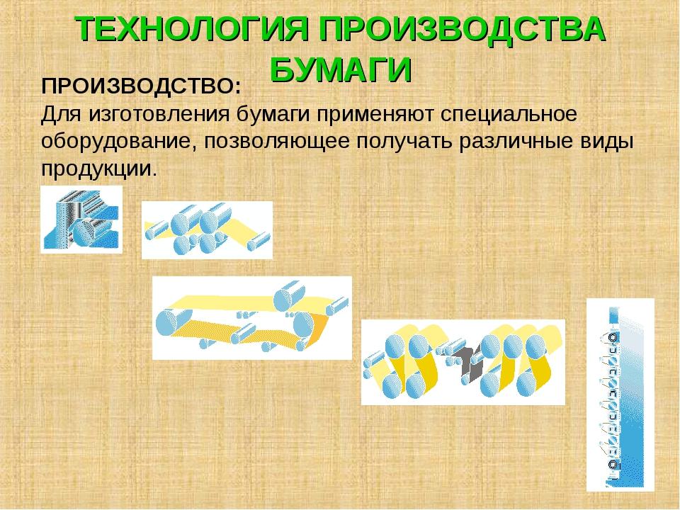 ТЕХНОЛОГИЯ ПРОИЗВОДСТВА БУМАГИ ПРОИЗВОДСТВО: Для изготовления бумаги применяю...