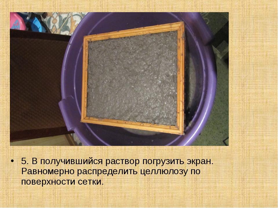 5. В получившийся раствор погрузить экран. Равномерно распределить целлюлозу...