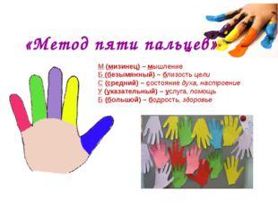 «Метод пяти пальцев» М(мизинец) – мышление Б(безымянный) – близость цели С