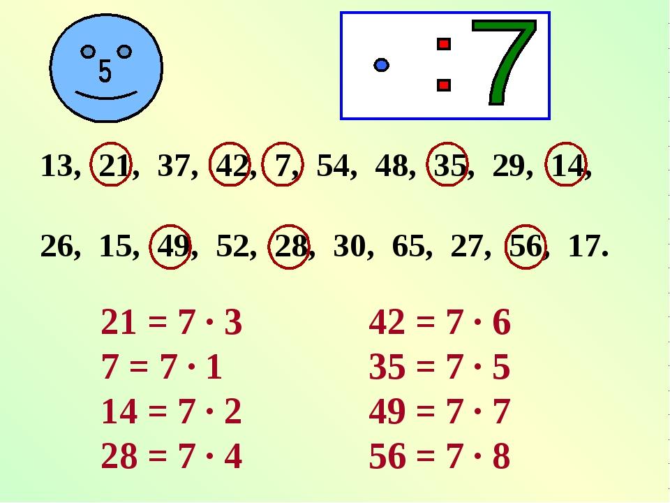 13, 21, 37, 42, 7, 54, 48, 35, 29, 14, 26, 15, 49, 52, 28, 30, 65, 27, 56, 17...