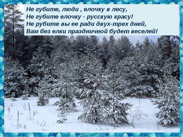 Не губите, люди , елочку в лесу, Не губите елочку - русскую красу! Не рубите...