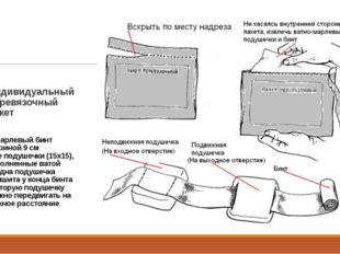 Индивидуальный перевязочный пакет 1.Марлевый бинт шириной 9 см Две подушечки