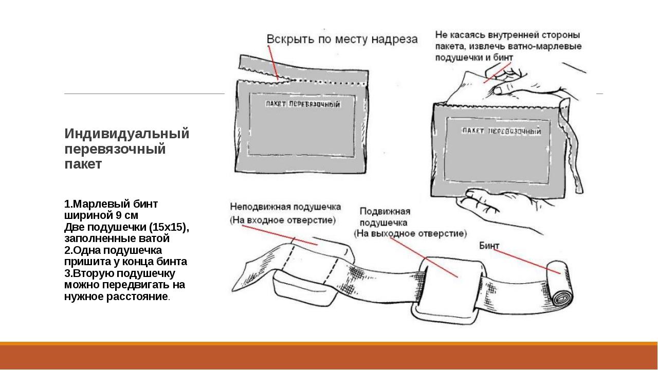 Индивидуальный перевязочный пакет 1.Марлевый бинт шириной 9 см Две подушечки...