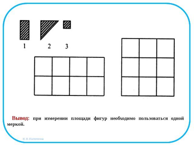 Вывод: при измерении площади фигур необходимо пользоваться одной меркой.