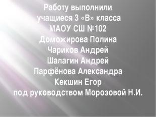 Работу выполнили учащиеся 3 «В» класса МАОУ СШ №102 Доможирова Полина Чариков
