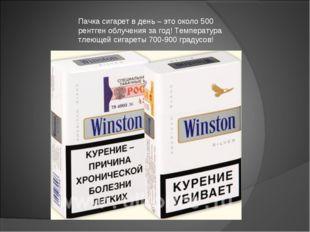 Пачка сигарет в день – это около 500 рентген облучения за год! Температура тл