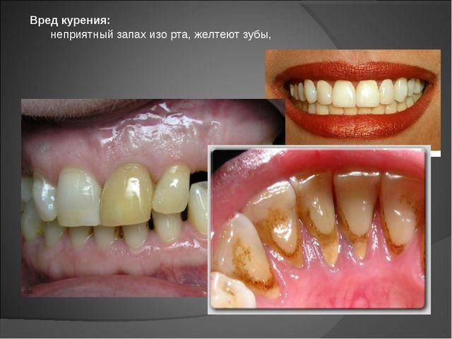 неприятный запах изо рта, желтеют зубы, Вред курения: