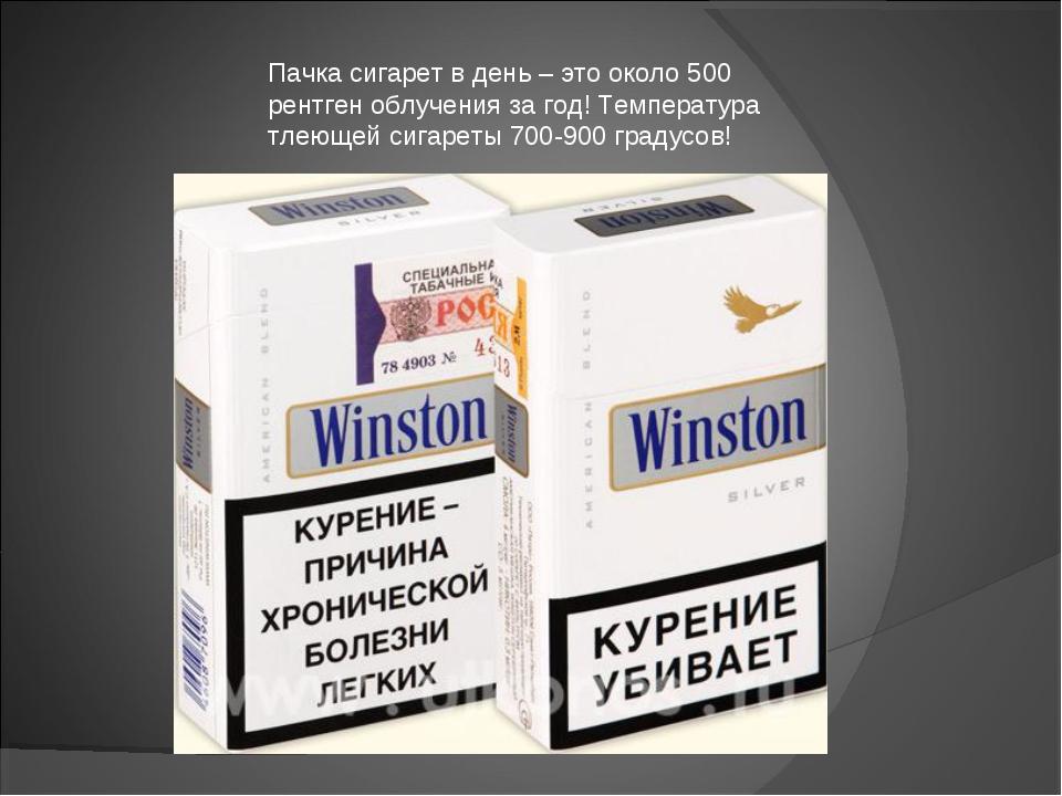 Пачка сигарет в день – это около 500 рентген облучения за год! Температура тл...