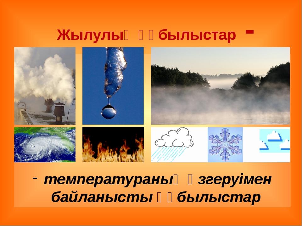 Жылулық құбылыстар - температураның өзгеруімен байланысты құбылыстар