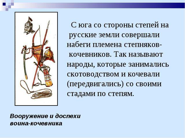 Вооружение и доспехи воина-кочевника С юга со стороны степей на русские земли...
