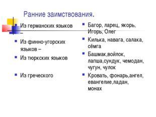 Ранние заимствования. Из германских языков – Из финно-угорских языков – Из тю