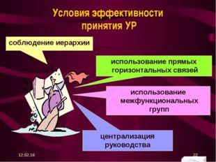 Условия эффективности принятия УР соблюдение иерархии использование межфункци