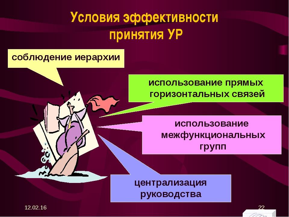 Условия эффективности принятия УР соблюдение иерархии использование межфункци...