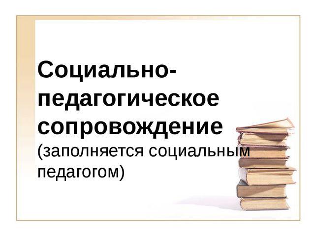 Социально-педагогическое сопровождение (заполняется социальным педагогом)