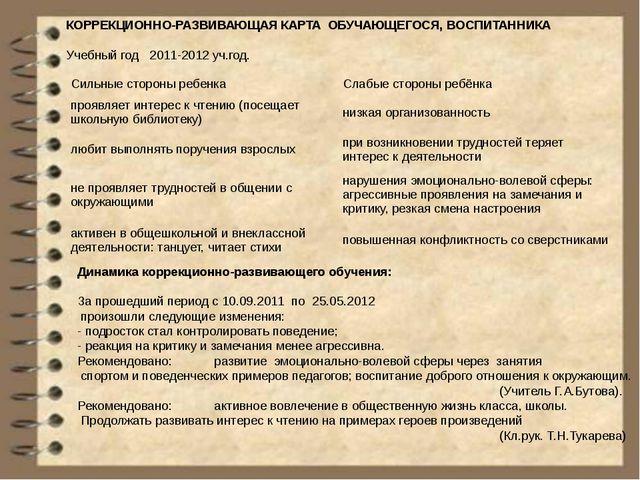 КОРРЕКЦИОННО-РАЗВИВАЮЩАЯ КАРТА ОБУЧАЮЩЕГОСЯ, ВОСПИТАННИКА Учебный год 2011-20...